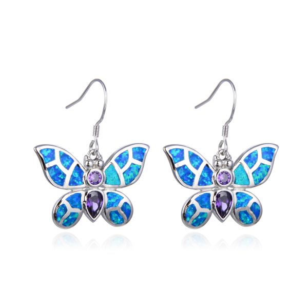 925 Sterling Silver Simulated Blue Opal Butterfly Earrings with cz Amethyst stone -22550-k5-09