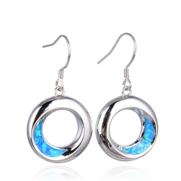 925 Silver Life Circle Hoop Earrings Simulated Blue Opal- 22569-k5