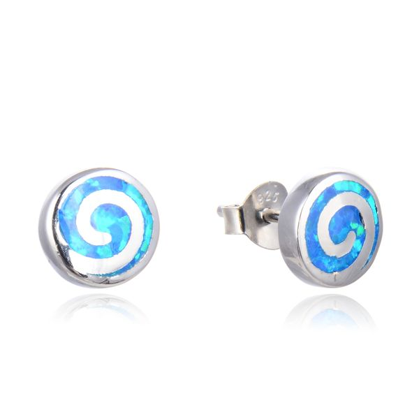 925 Sterling Silver Snail Stud Earrings , Simulated Blue Opal Snail-22582-k5