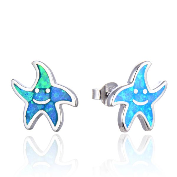 925 Sterling Silver ,Happy Starfish Stud Earrings , Simulated Blue Opal -22590-k5