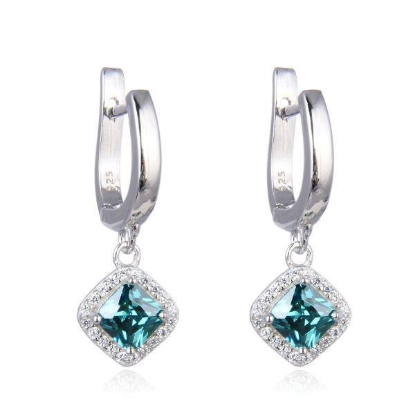 925 Sterling Silver Nano Paraiba Changing Color Stone Square dangling Earrings - 22657-PR-CH