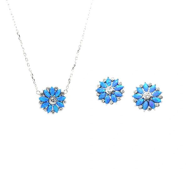 925 STERLING SILVER SIMULATED BLUE OPAL SUNFLOWER NECKLACE 18INCH-33CZ15
