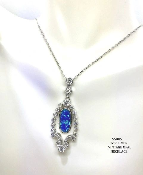 925 SILVER SIMULATED BLUE OPAL VINTAGE DROP NECKLACE - 55005-K5