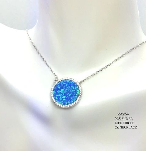 925 SILVER SIMULATED BLUE OPAL LIFE CIRCLE NECKLACE 18 INCH-55CZ54-K5