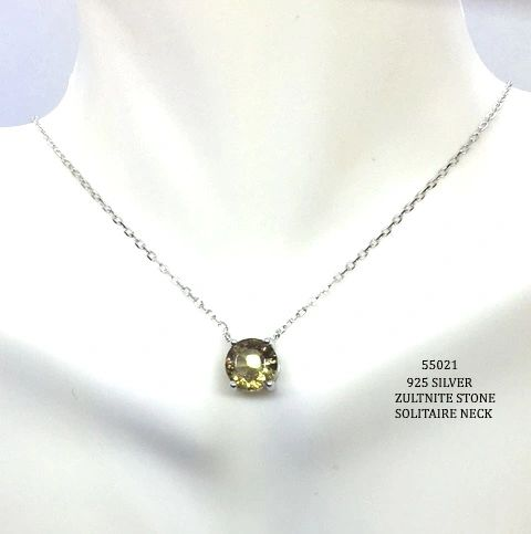 "925 SILVER COLOR CHANGING SULTNITE STONE SOLITAIRE NECKLACE 18""+2INCH-55021-204"