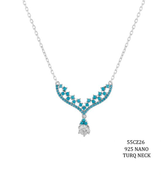925 SILVER NANO TURQUOISE , DROP NECKLACE -55CZ26-TQ