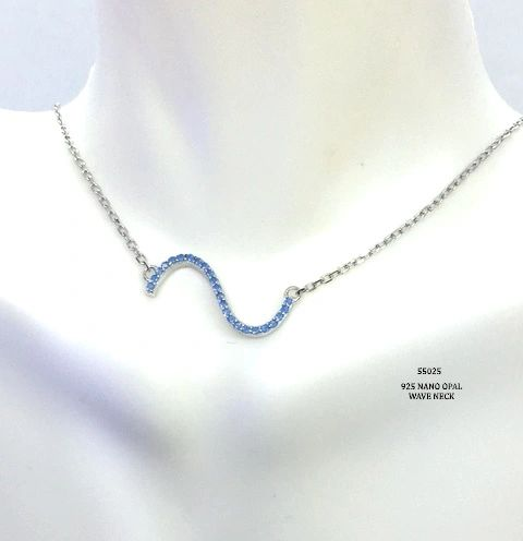 925 SILVER NANO OPAL WAVE NECKLACE - 55025-OP