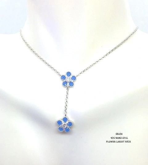 925 SILVER NANO BLUE OPAL LARIAT FLOWER NECKLACE-55028-OP
