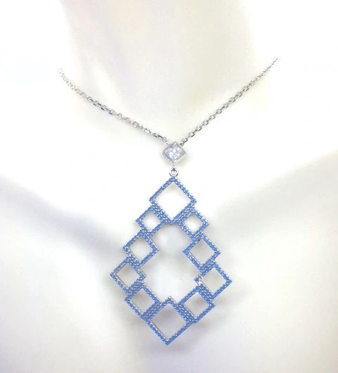 925 SILVER NANO BLUE OPAL PYRAMID NECKLACE-55009-OP