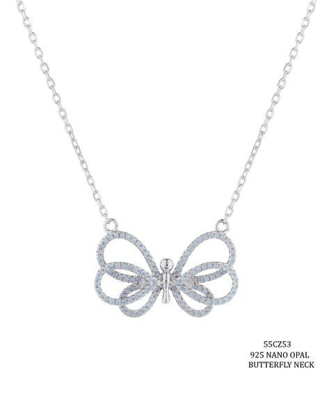 """925 Silver Nano Opal Butterfly Necklace 18inch+2""""-55cz53-op"""