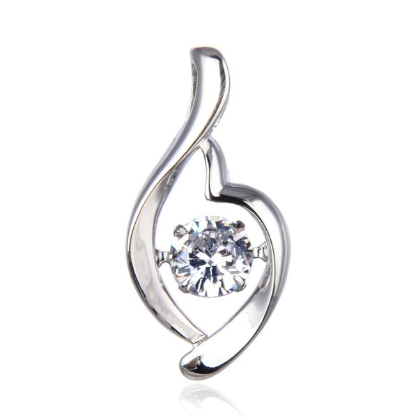 925 SILVER DANCING DIAMOND WHITE CZ PENDANT-33249-WH