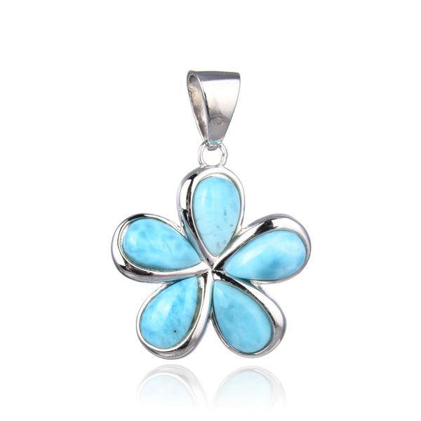 925 SILVER TOP BLUE LARIMAR FLOWER PENDANT -33295-LA