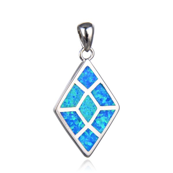 925 STERLING SILVER DIAMOND SHAPE INLAID SIMULATED BLUE OPAL PENDANT -33732-K5