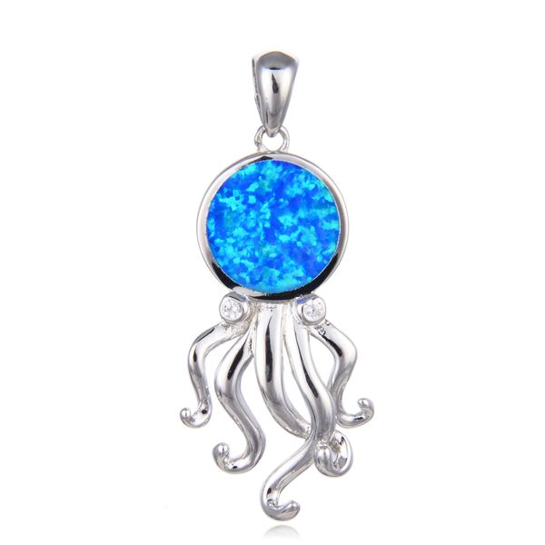 925 SILVER SIMULATED BLUE OPAL OCTOPUS PENDANT-33737-K5