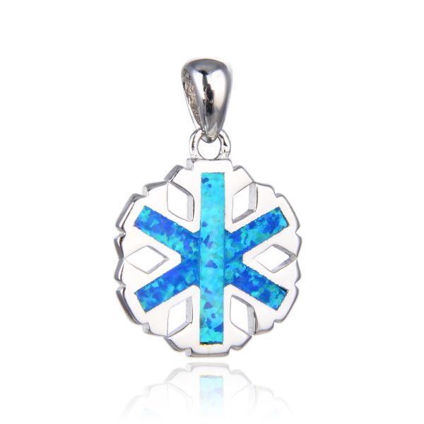 925 SILVER SIMULATED BLUE OPAL SNOWFLAKE SMALL PENDANT-33754-K5