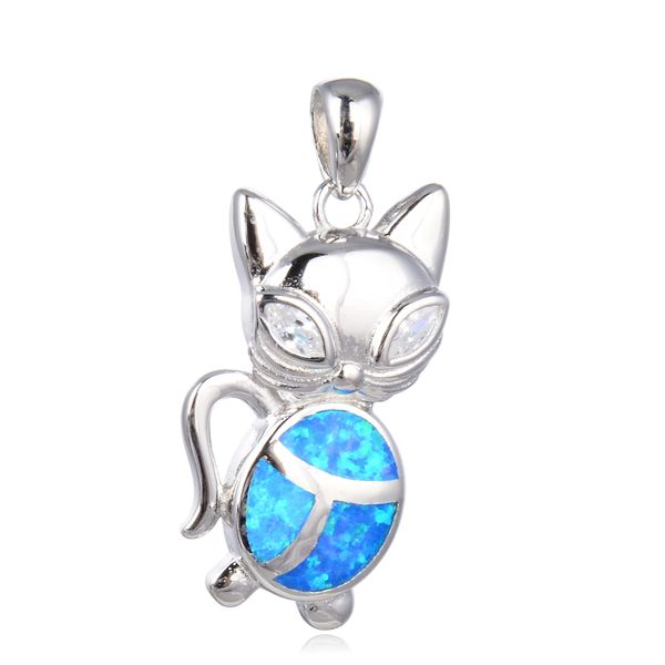 925 SILVER SIMULATED BLUE OPAL CAT PENDANT-33766-K5