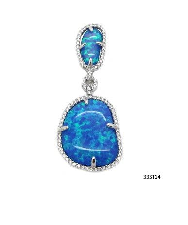 925 silver simulated blue opal Free Shape long pendant-33ST14-K5