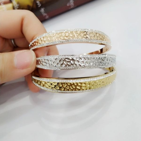 Stainless Steel Hammered Lady Fashion Designer STYLE Bangle -SSB50380-WH
