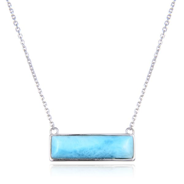 "925 Sterling Silver blue color Larimar Bar Necklace 18""+2"" long- 55145-LA"