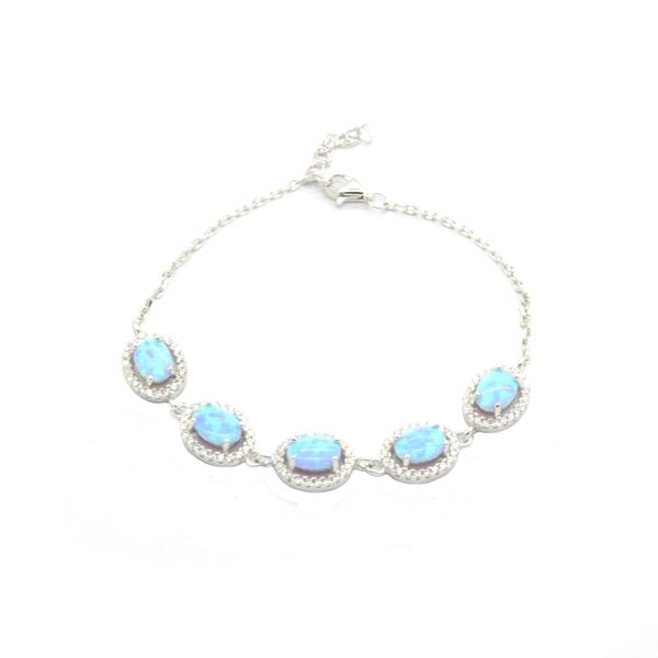 925 Silver Simulated Blue Opal Oval 6x8 mm Adjustable Bracelet - 44004-k5