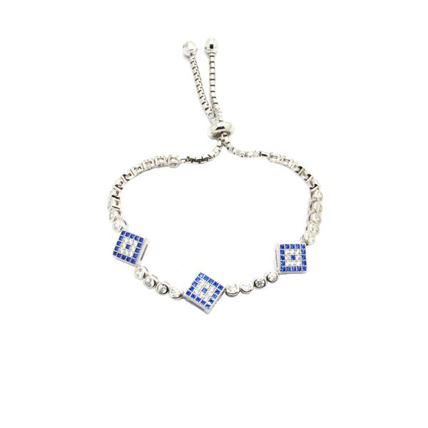 925 Silver Triple CHARM blue Eye Adjustable Bracelet -44cz70-