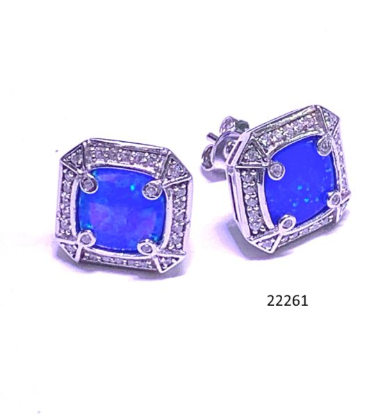 925 Sterling Silver Simulated Blue Opal post stud Earrings Square Cut-22261-K5