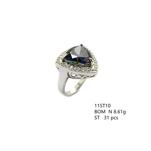925 SILVER TRIANGLE SHAPE CZ MYSTIC RING- 11ST10-MY