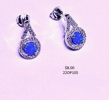 sterling silver earrings Simulated Blue Opal Fancy post earrings round stone 6mm,22op105-k5