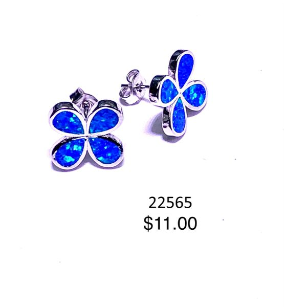 925 Simulated Blue Opal flower post earrings ,22565-k5