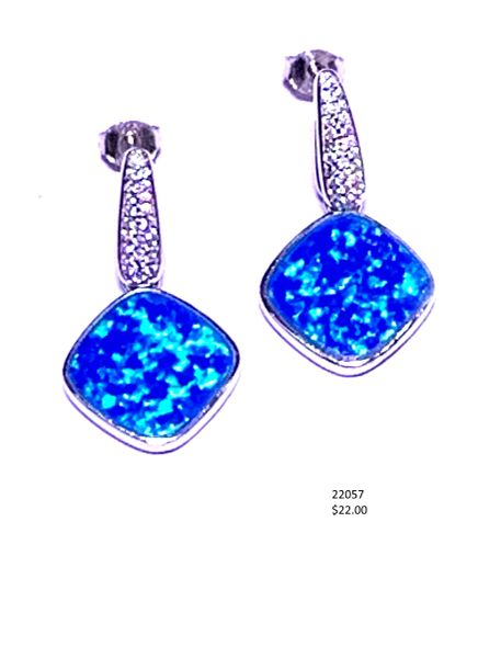 925 Simulated Blue Opal square long dangling post earrings ,22057-k5