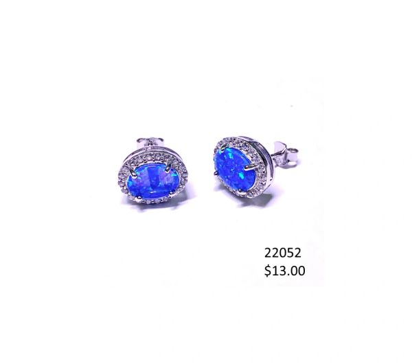 925 Simulated Blue Opal Oval post Earrings - 22052-k5