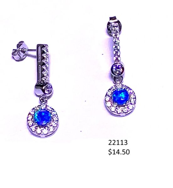 925 Simulated Blue Opal long Post Earriings-22113-k5