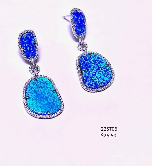 925 SIMULATED FREE SHAPE BLUE OPAL LONG EARRINGS -22ST06-K5