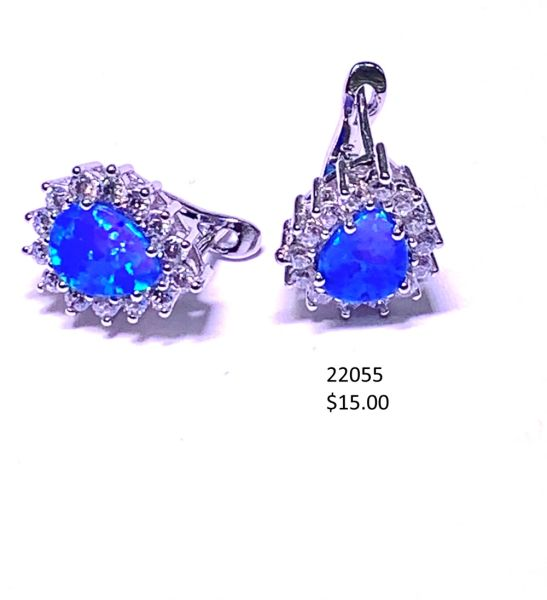 925 Simulated Blue opal drop shape french hook post earrings - 22055-k5