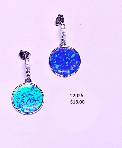 925 SIMULATED BLUE OPAL ROUND SHAPE DANGLING POST EARRINGS -22026-K5