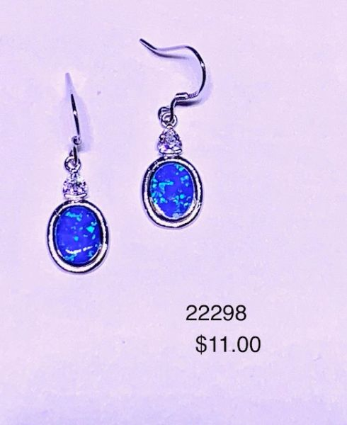 925 SIMULATED BLUE OPAL OVAL FISH-WIRE DANGLING EARRINGS-22298-K5