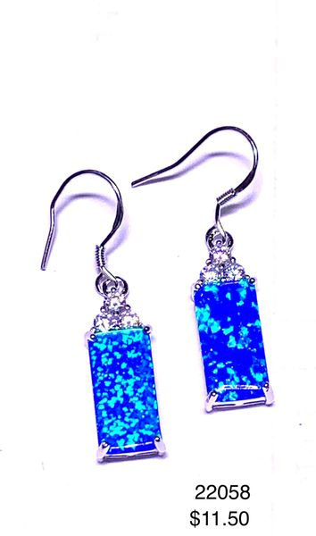 925 SIMULATED BLUE OPAL LONG RETANGULAR DANGLING EARRINGS-22058-K5