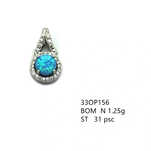 925 Sterling Silver Simulated Blue Opal fancy tiny pendant-33op156-k6