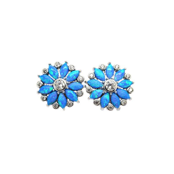 925 Sterling Silver Simulated Blue Opal Sun Flower Earrings - 22cz51-k5