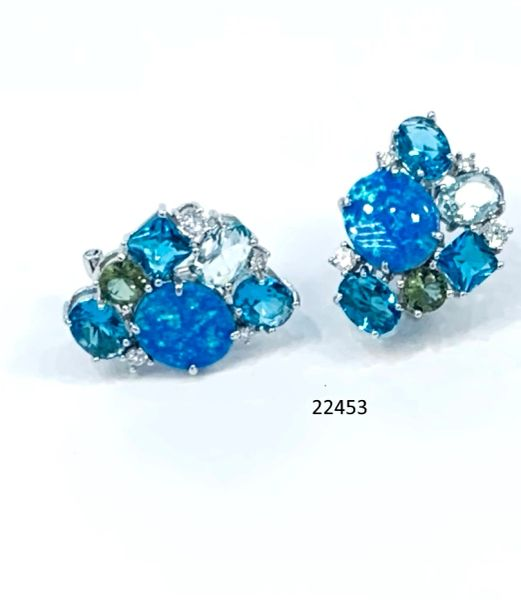 925 Sterling Silver Simulated Blue opal Multi Color Earrings - 22453- k5