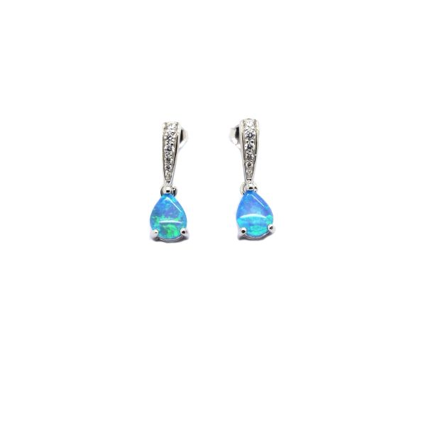 925 Sterling Silver Simulated Blue Opal DROP SHAPE LONG earrings - 22002-K5
