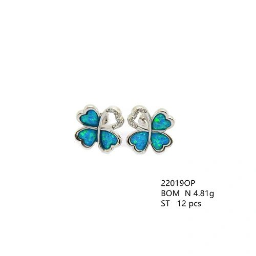 925 Sterling Silver Simulated blue opal flower earrings heart 4 leaf - 22019-k5