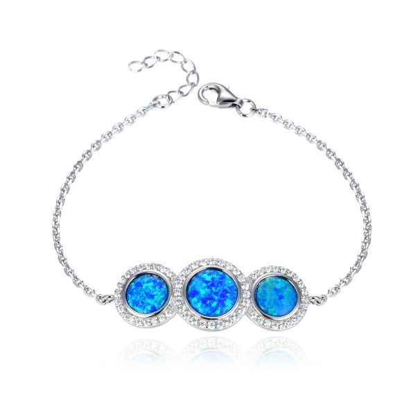 925 Sterling Silver Simulated Blue Opal Adjustable Bracelet round shape 3 stone -44175-k5