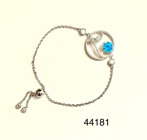 925 Sterling Silver Simulated Blue Opal art decor wave and sun adjustable bracelet-44181-k5