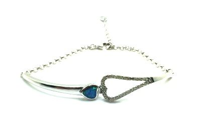 925 Sterling Silver simulated blue opal hook heart bracelet-44op05-k5