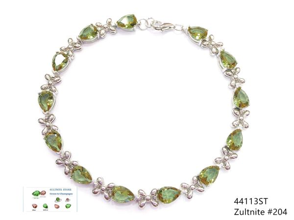 925 Sterling Silver Color Changing Sultnite Stone Pear Shape Tennis Bracelet-44113-204