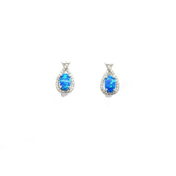 925 Sterling Silver Simulated Blue Opal x hug earrings-22054-k5