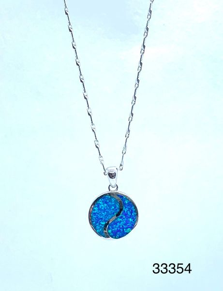 925 Sterling Silver Simulated Blue Opal yin yang pendant-33354-k5