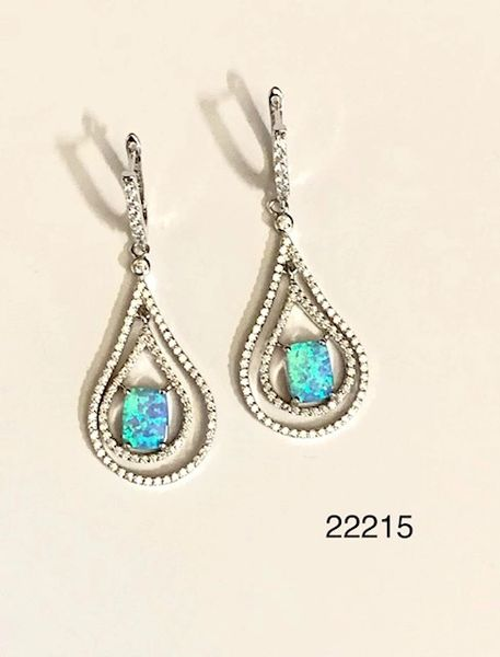 925 Sterling Silver Simulated Blue Opal cage Drop Earrings- 22215-k6