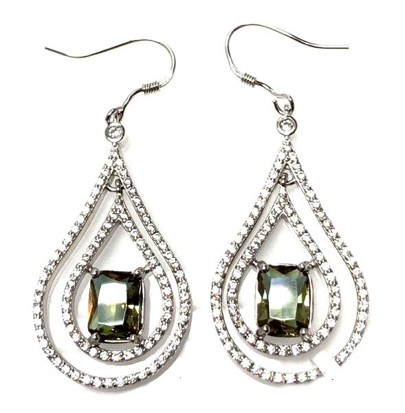 925Sterling Silver Lab Sultnite cage drop earrings - 22215-204